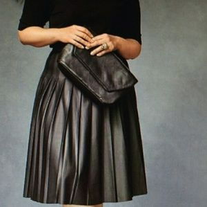 Lane Bryant Pleated Pleather High Waisted Skirt
